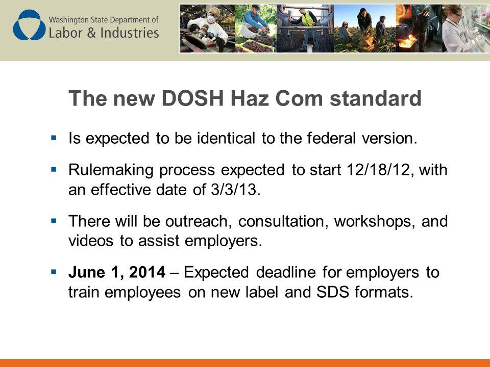 The new DOSH Haz Com standard