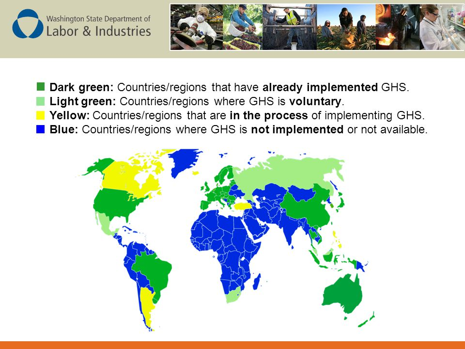 Dark green: Countries/regions that have already implemented GHS.