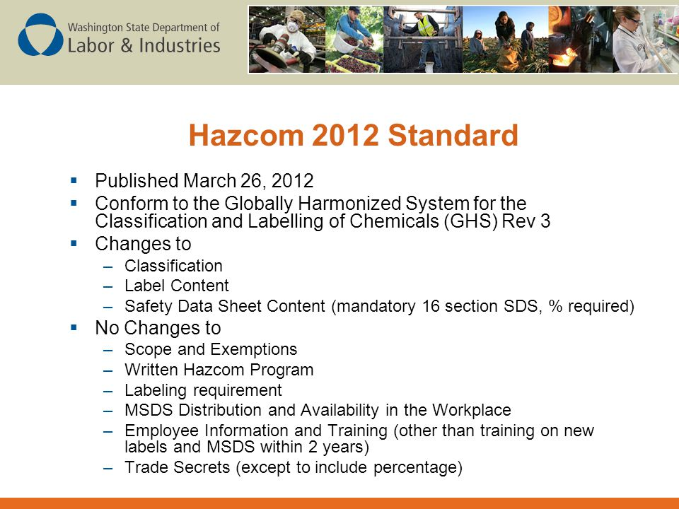 Hazcom 2012 Standard Published March 26, 2012