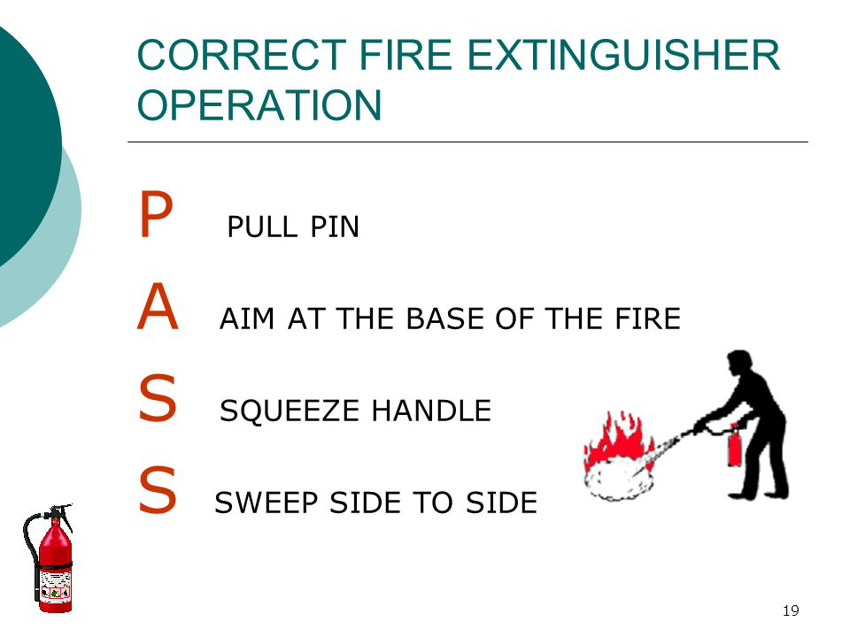 CORRECT FIRE EXTINGUISHER OPERATION