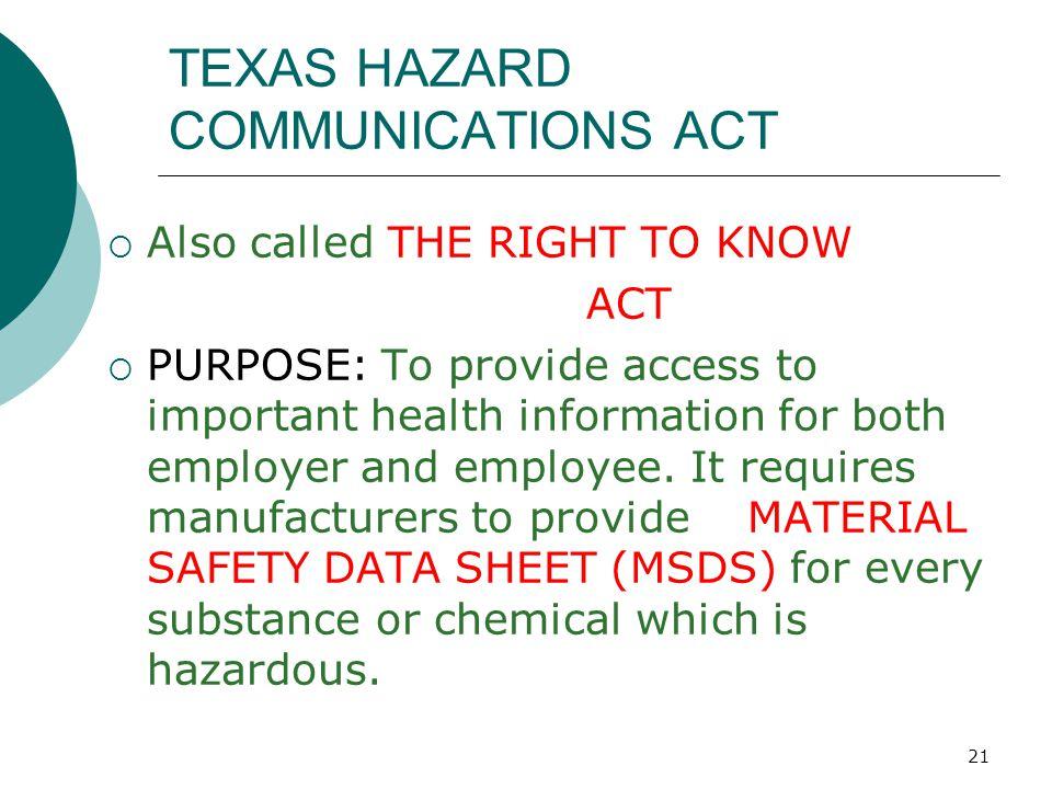 TEXAS HAZARD COMMUNICATIONS ACT