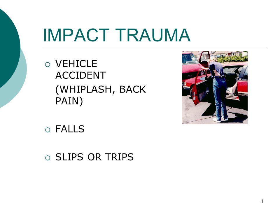 IMPACT TRAUMA VEHICLE ACCIDENT (WHIPLASH, BACK PAIN) FALLS
