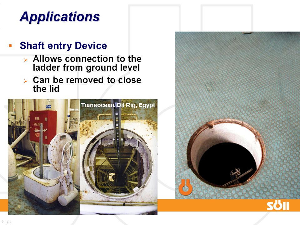 Applications Shaft entry Device