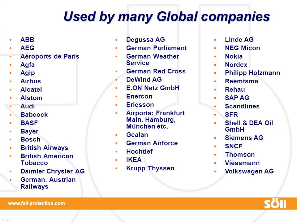 Used by many Global companies