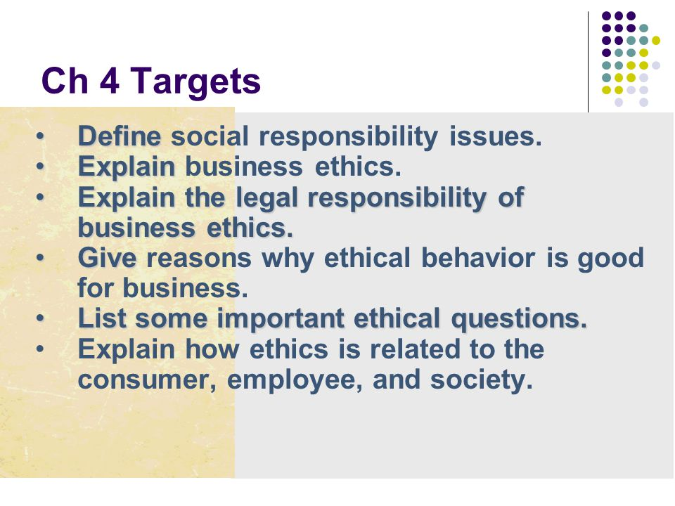Ch 4 Targets Define social responsibility issues.