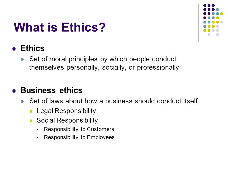 What is Ethics Ethics Business ethics