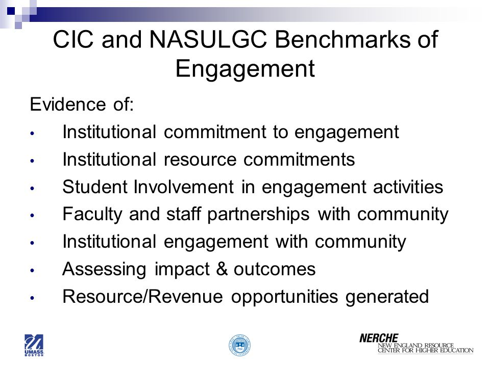 CIC and NASULGC Benchmarks of Engagement
