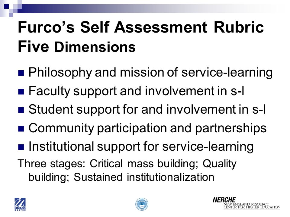 Furco's Self Assessment Rubric Five Dimensions