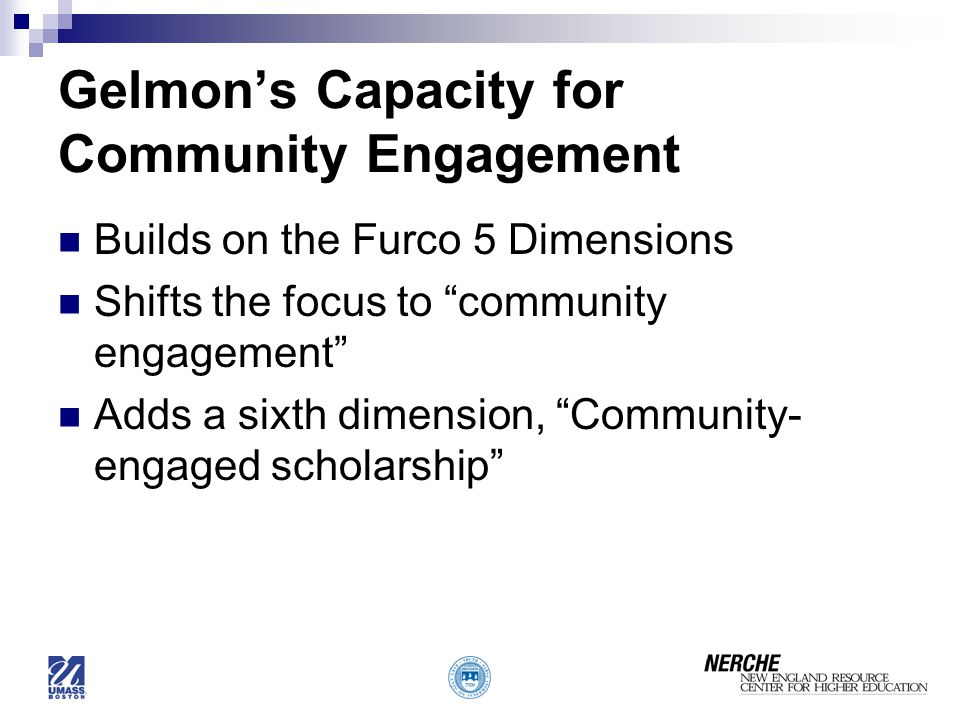 Gelmon's Capacity for Community Engagement