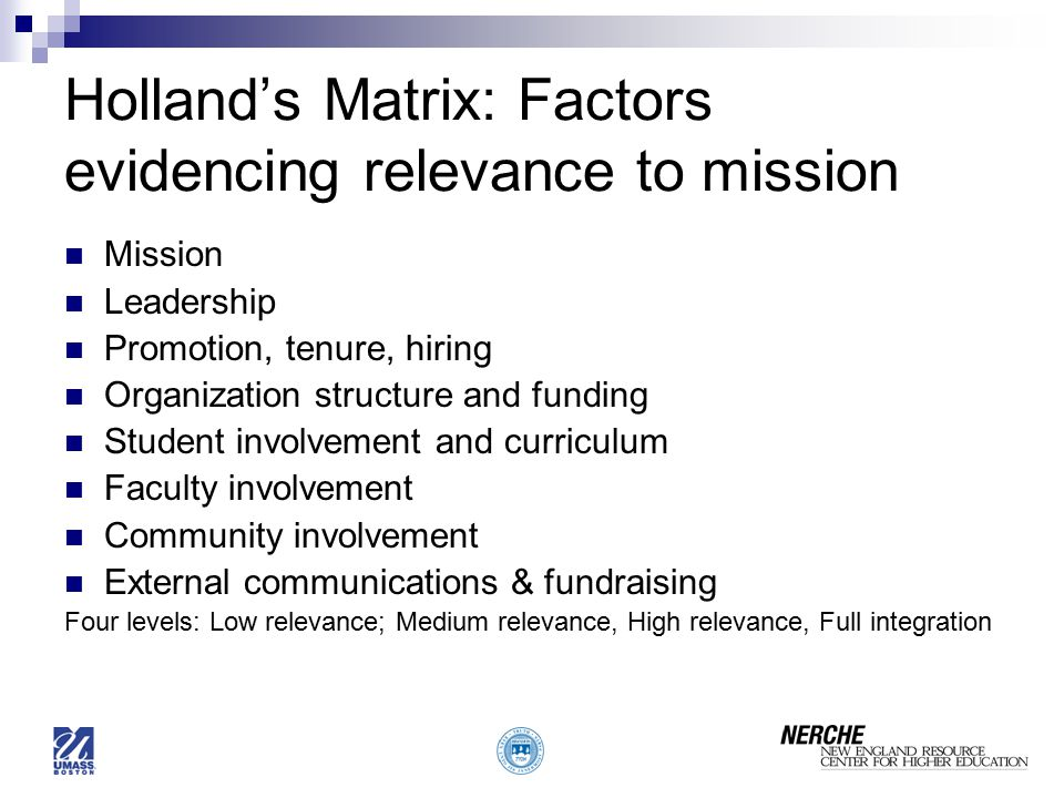 Holland's Matrix: Factors evidencing relevance to mission