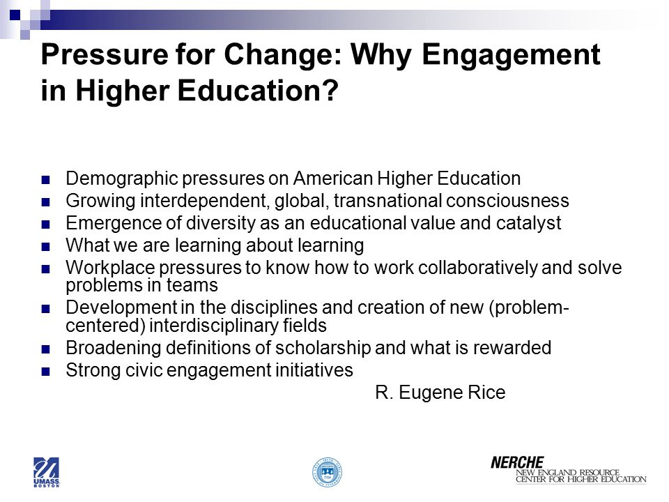 Pressure for Change: Why Engagement in Higher Education
