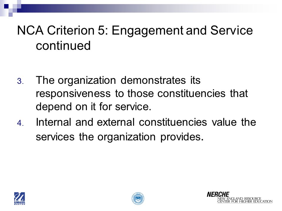 NCA Criterion 5: Engagement and Service continued