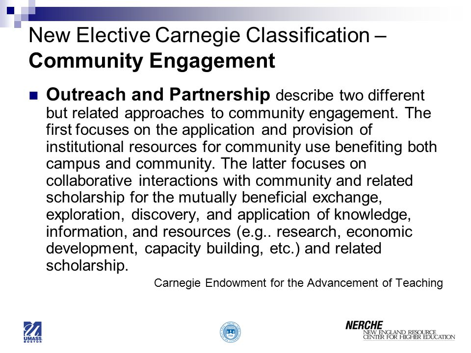 New Elective Carnegie Classification – Community Engagement