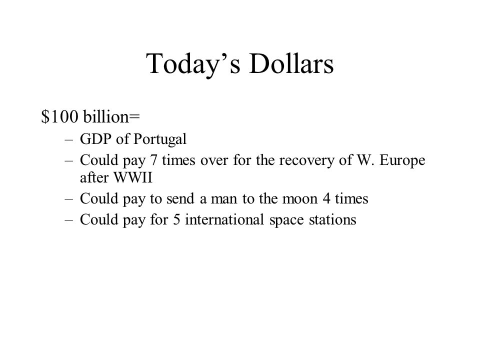 Today's Dollars $100 billion= GDP of Portugal