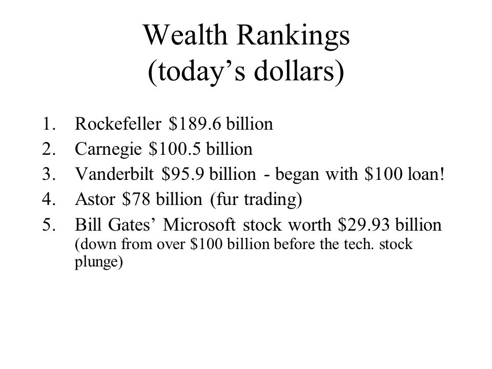 Wealth Rankings (today's dollars)