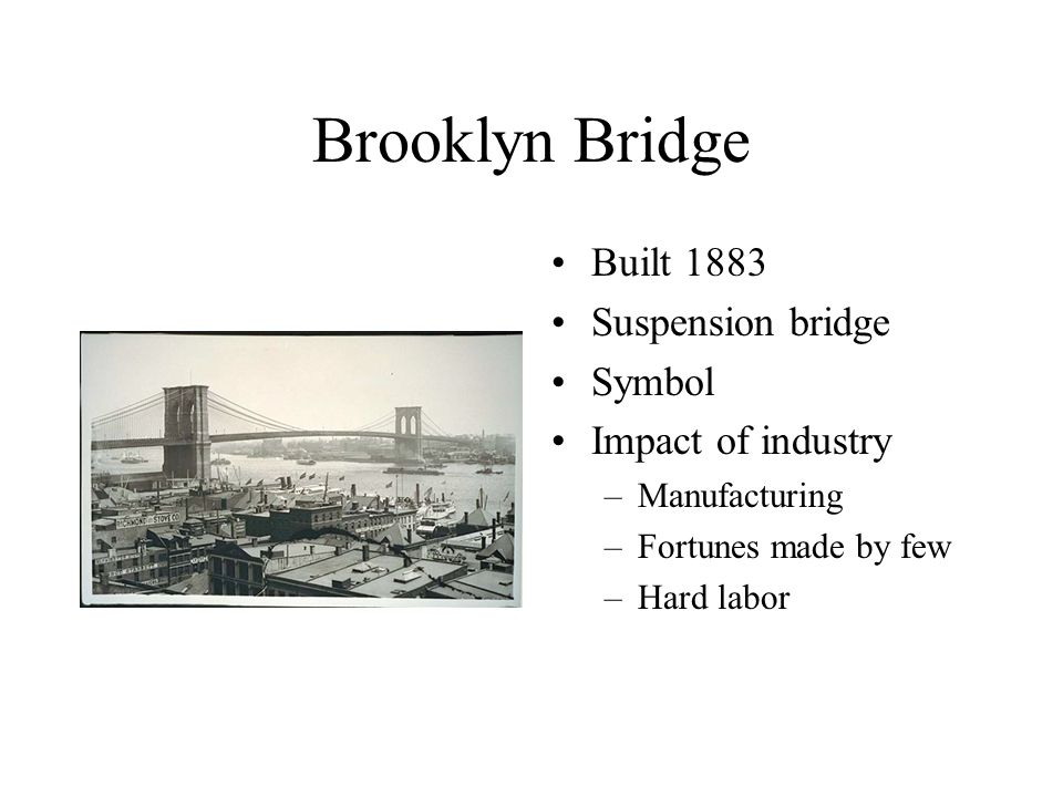 Brooklyn Bridge Built 1883 Suspension bridge Symbol Impact of industry