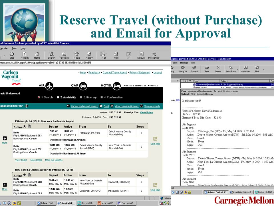 Reserve Travel (without Purchase) and Email for Approval