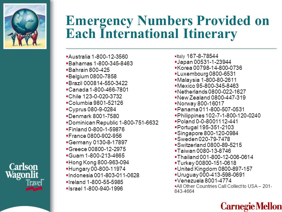 Emergency Numbers Provided on Each International Itinerary