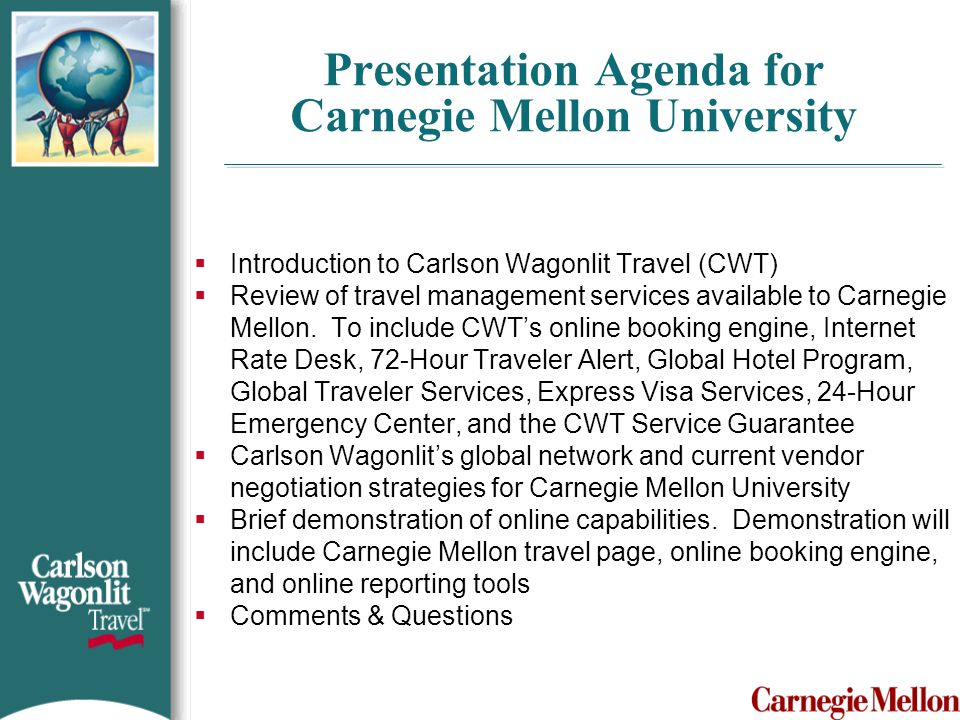 Presentation Agenda for Carnegie Mellon University