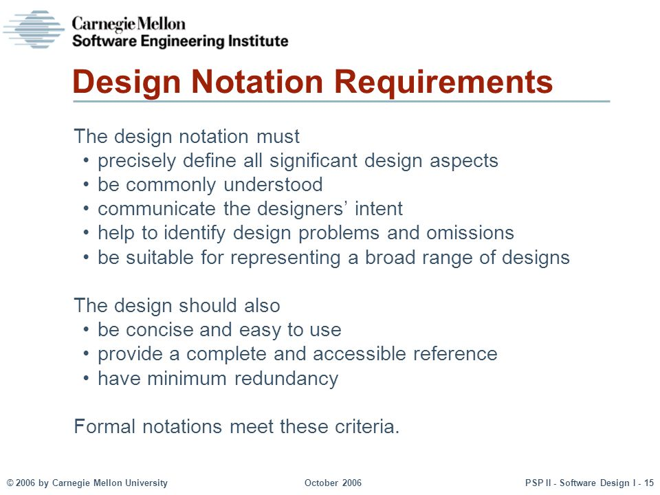 Design Notation Requirements