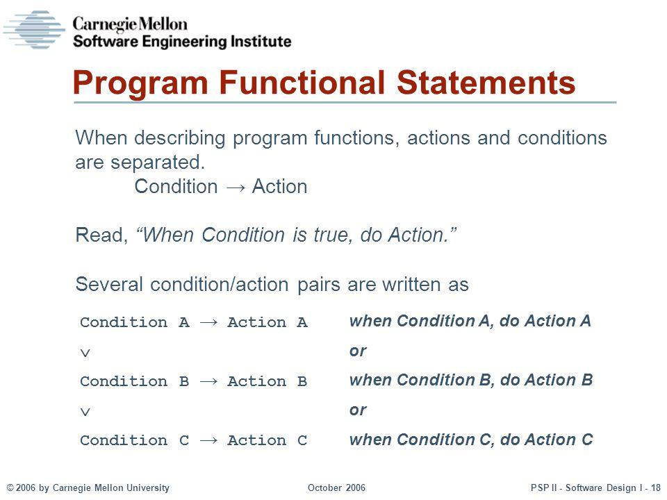 Program Functional Statements