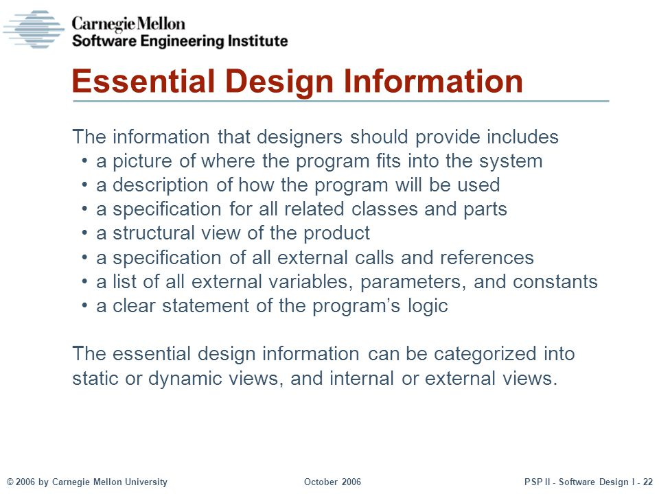 Essential Design Information