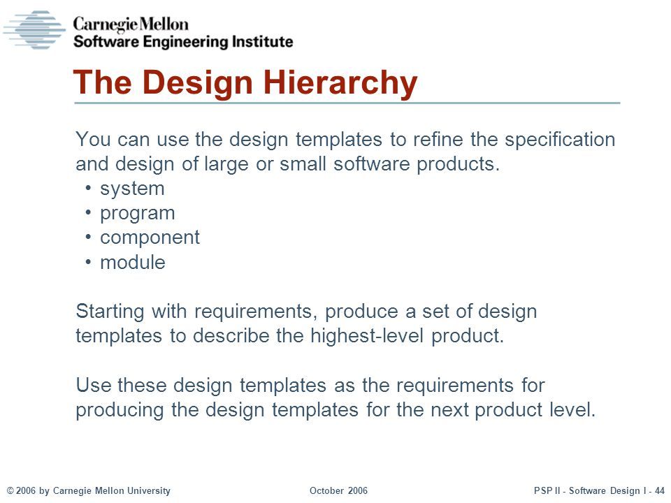 The Design Hierarchy You can use the design templates to refine the specification and design of large or small software products.