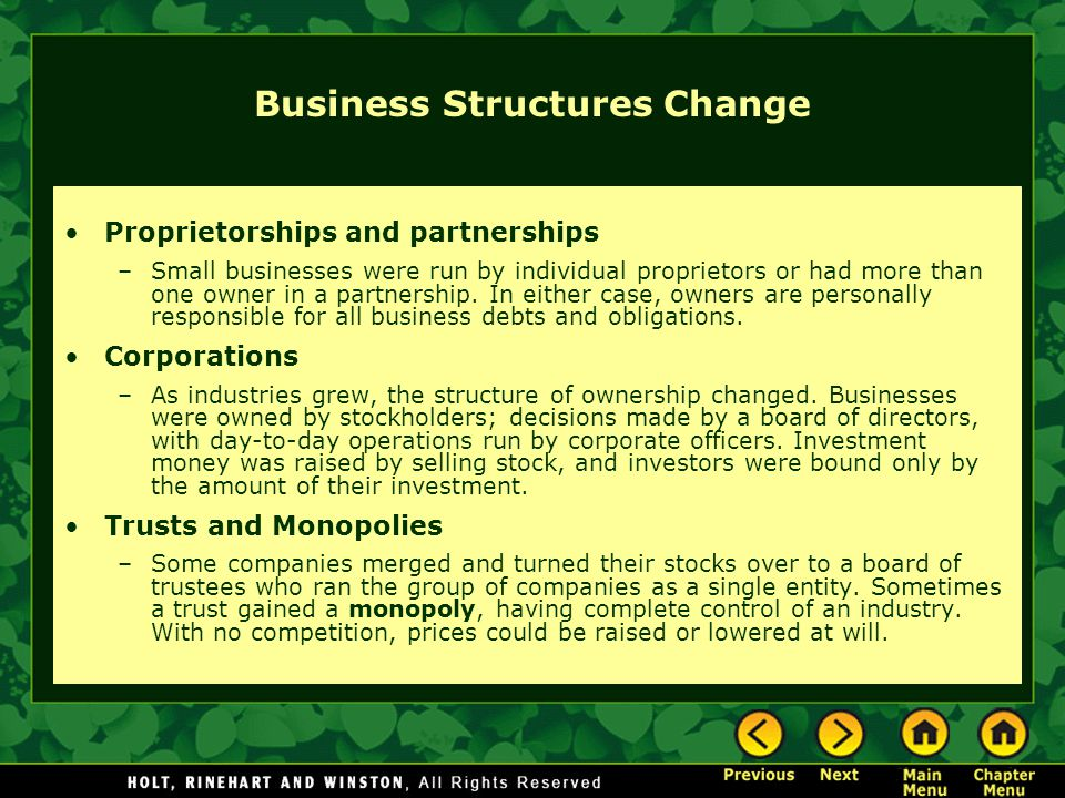 Business Structures Change