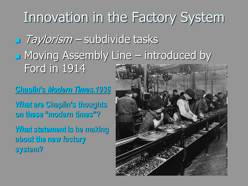 Innovation in the Factory System