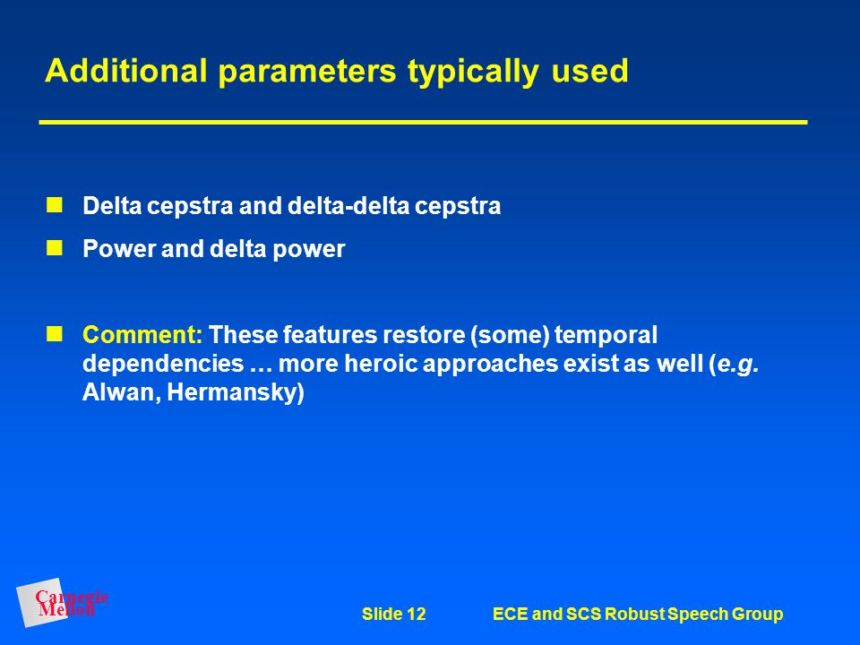 Additional parameters typically used