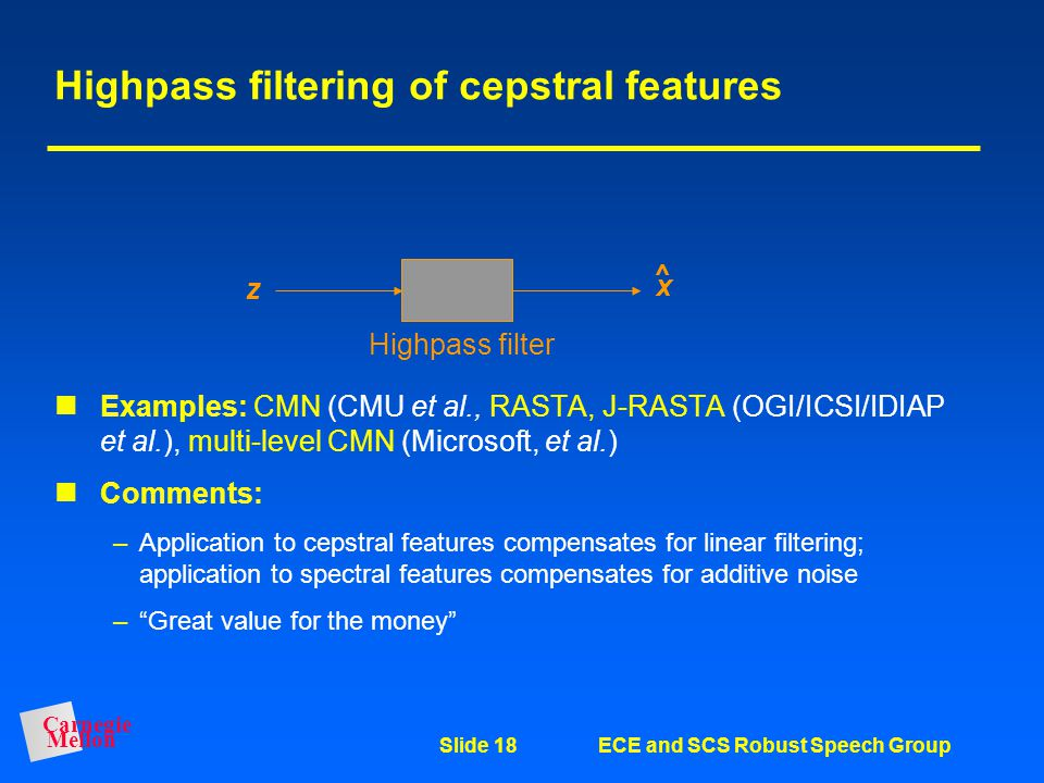 Highpass filtering of cepstral features