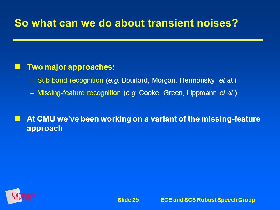 So what can we do about transient noises