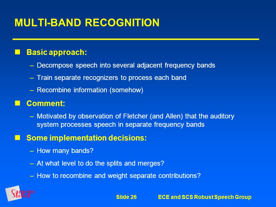 MULTI-BAND RECOGNITION