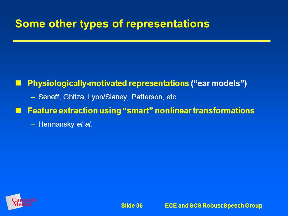 Some other types of representations
