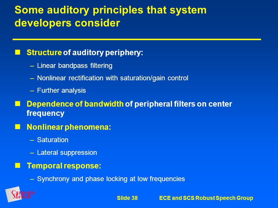 Some auditory principles that system developers consider