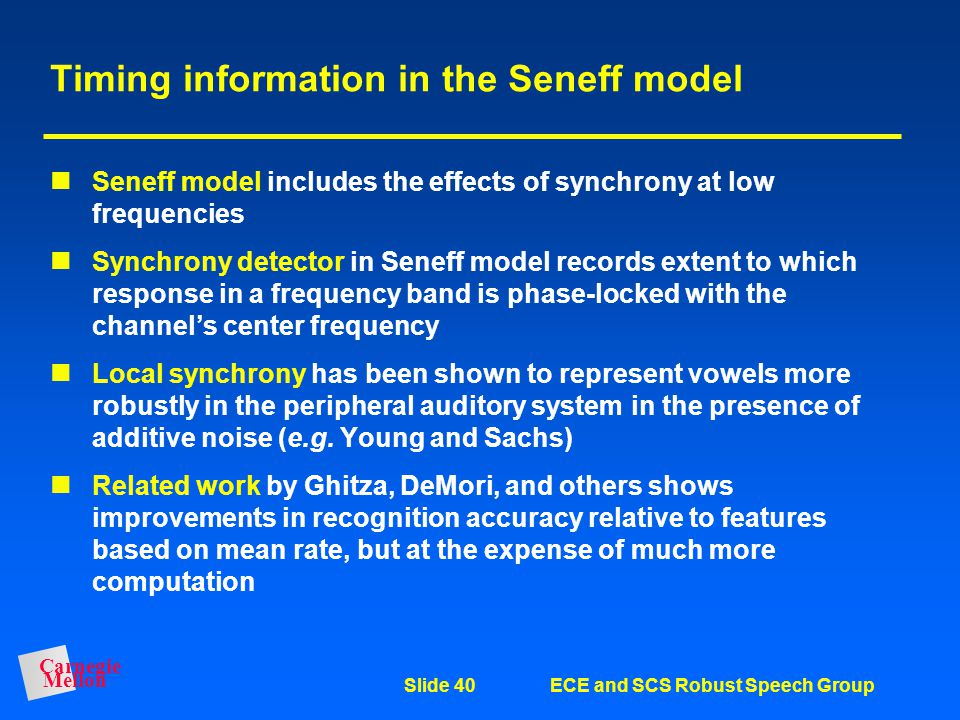 Timing information in the Seneff model