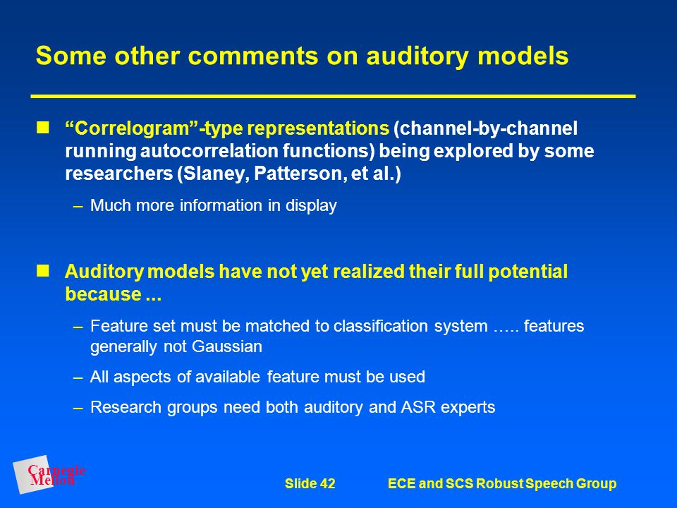 Some other comments on auditory models