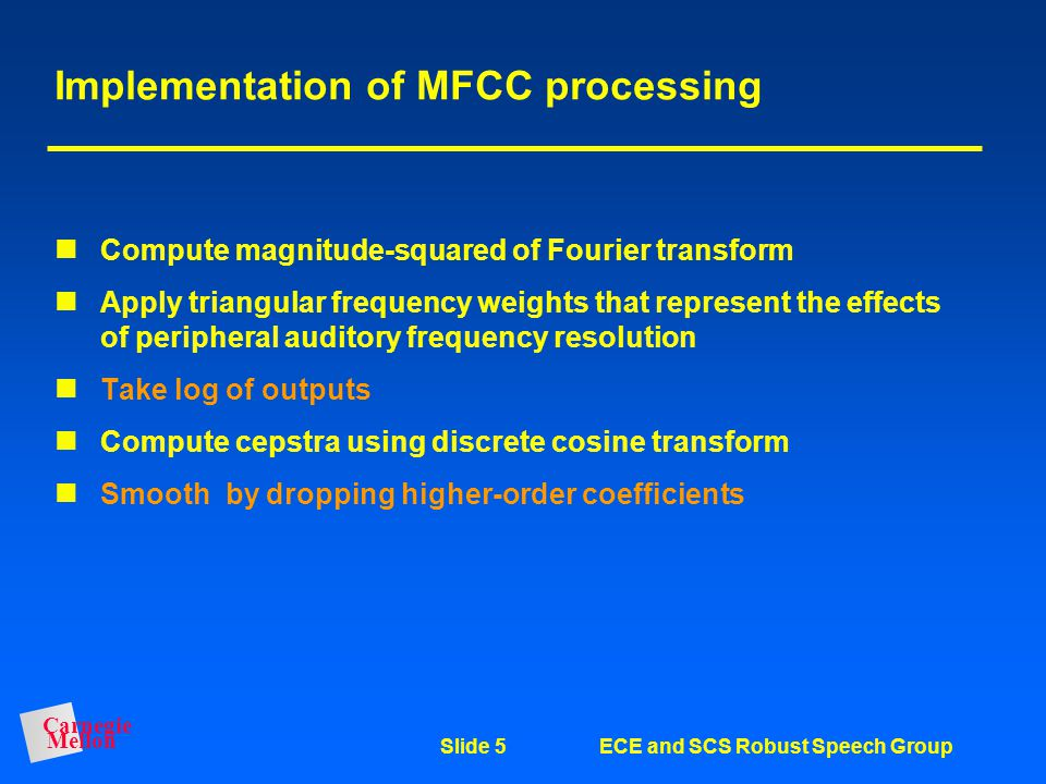 Implementation of MFCC processing