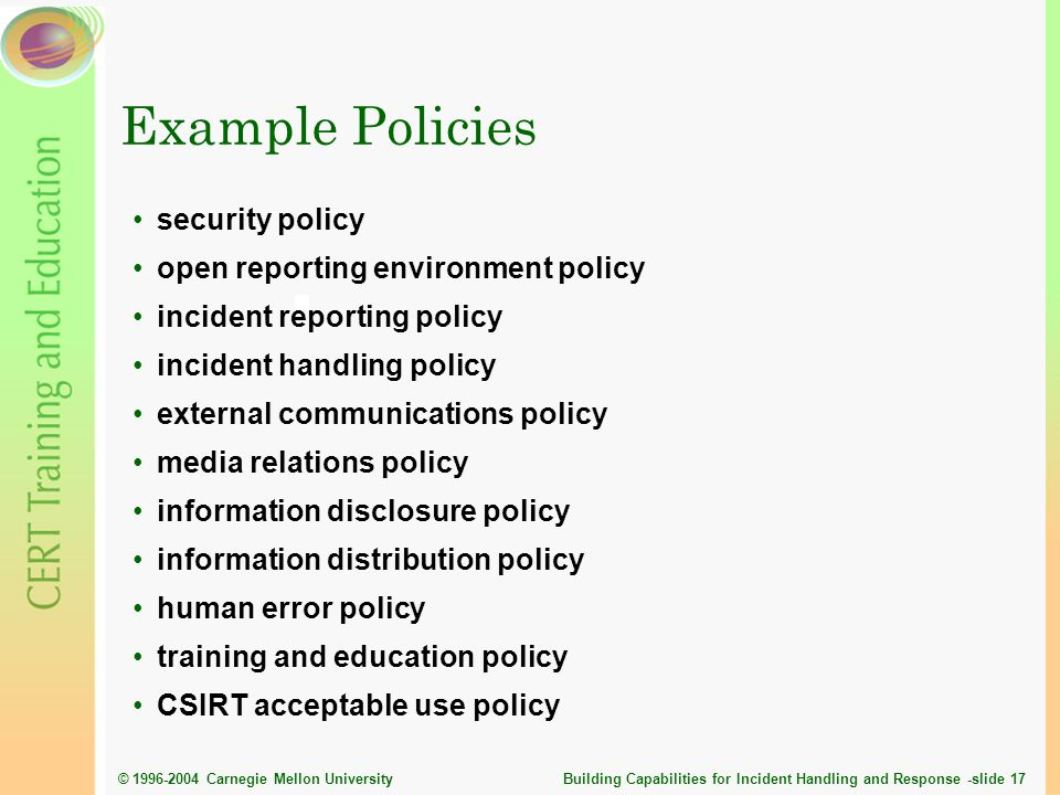 Example Policies security policy open reporting environment policy