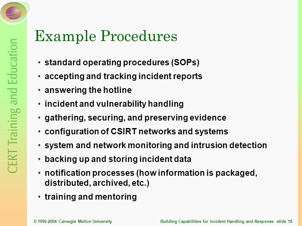 Example Procedures standard operating procedures (SOPs)