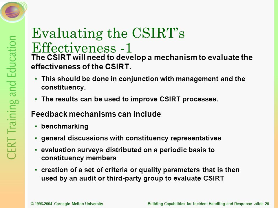 Evaluating the CSIRT's Effectiveness -1