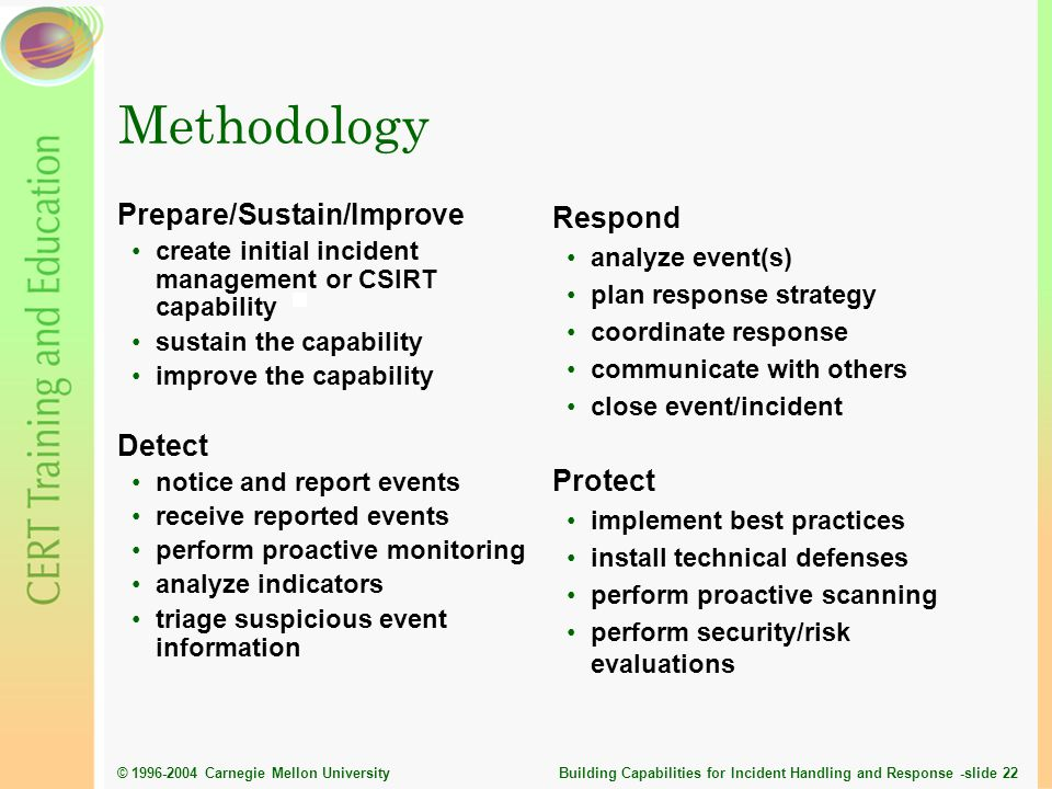 Methodology Prepare/Sustain/Improve Detect Respond Protect