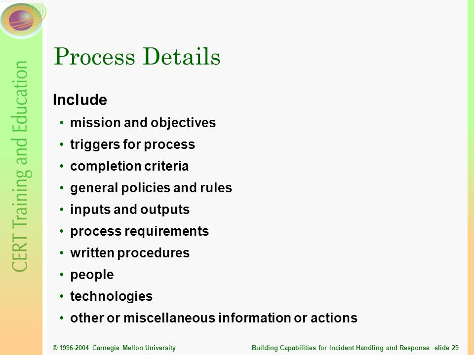 Process Details Include mission and objectives triggers for process