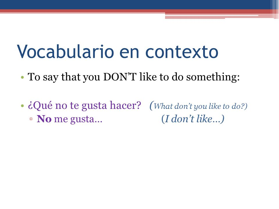 Vocabulario en contexto