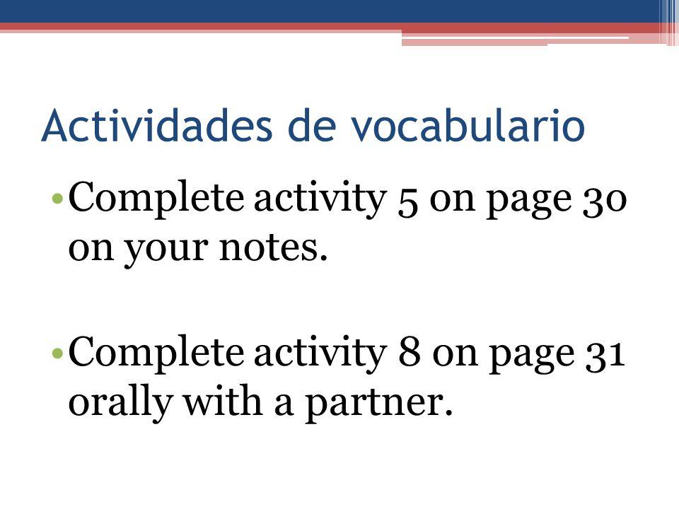 Actividades de vocabulario