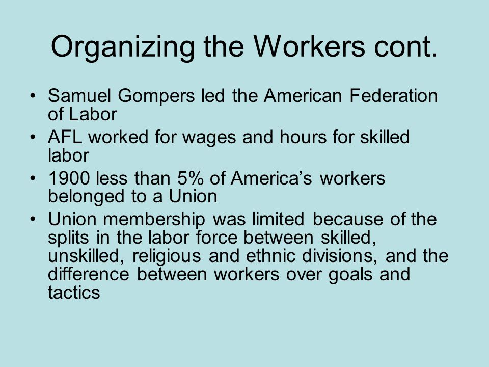 Organizing the Workers cont.