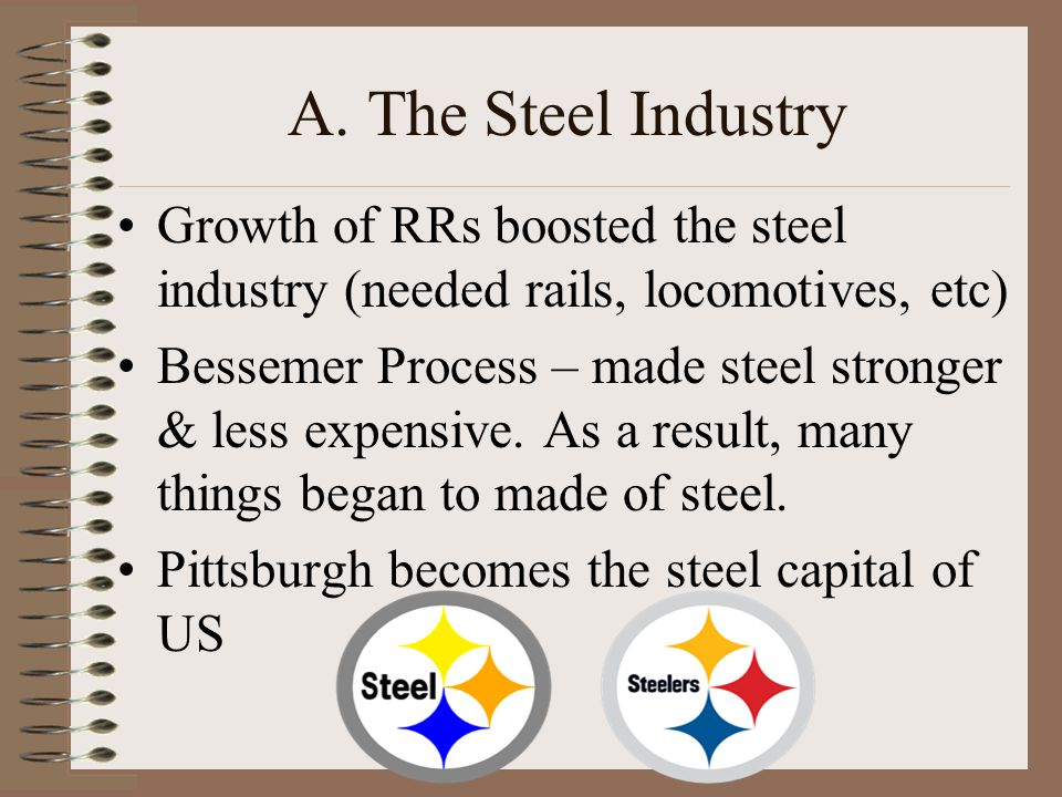 A. The Steel Industry Growth of RRs boosted the steel industry (needed rails, locomotives, etc)