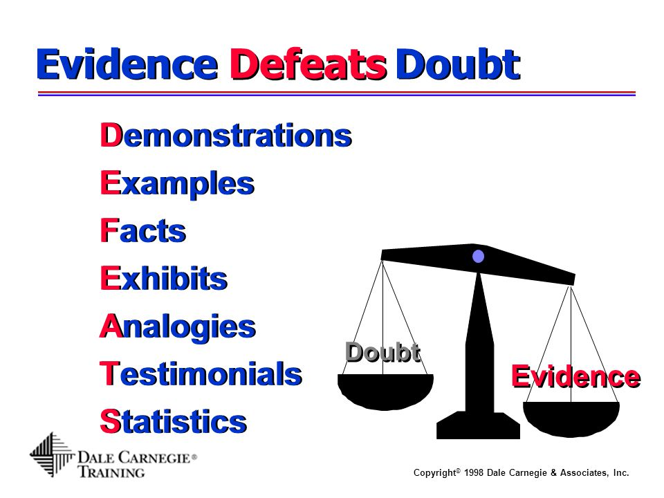 Evidence Doubt Defeats Demonstrations Examples Facts Exhibits