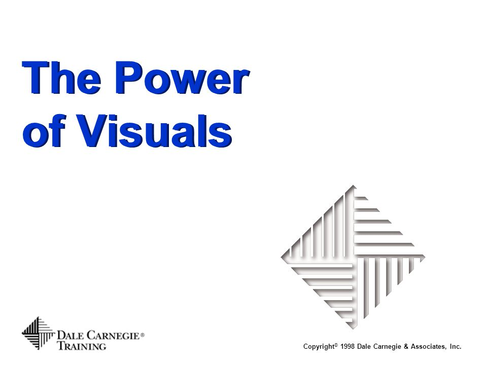 The Power of Visuals Copyright© 1998 Dale Carnegie & Associates, Inc.