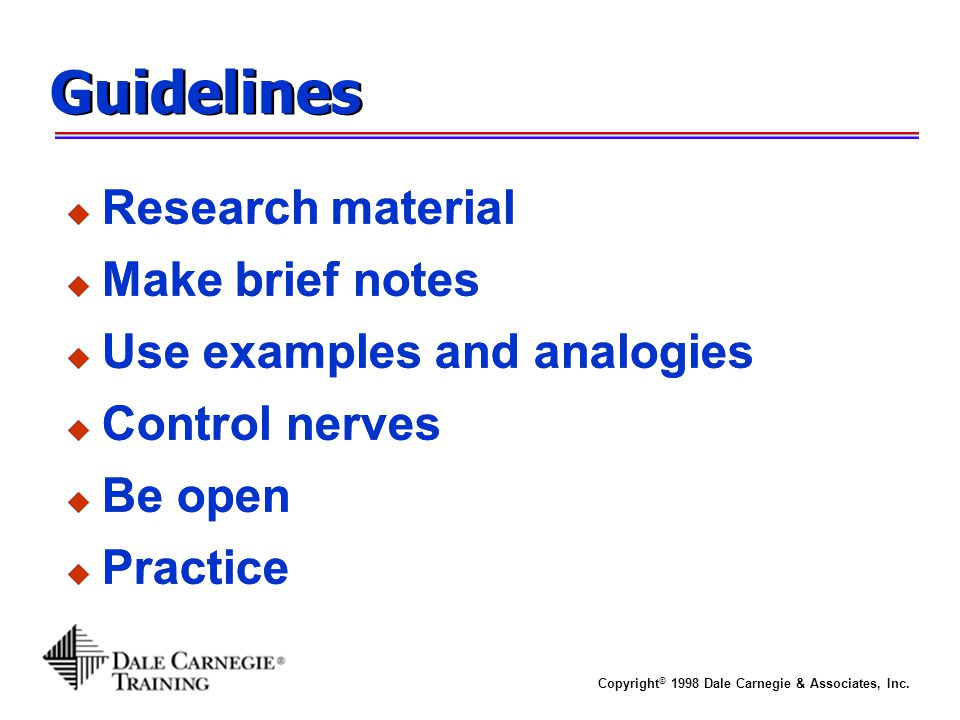 Guidelines Research material Make brief notes